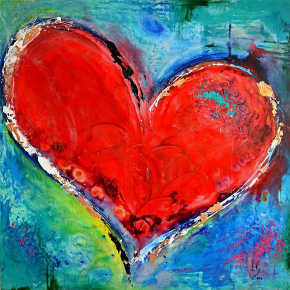 heart paintings on canvas